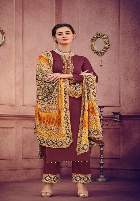 Mumtaz Arts Rangon Ki Duniya Presents Ikat jam satin Printed Suits 202