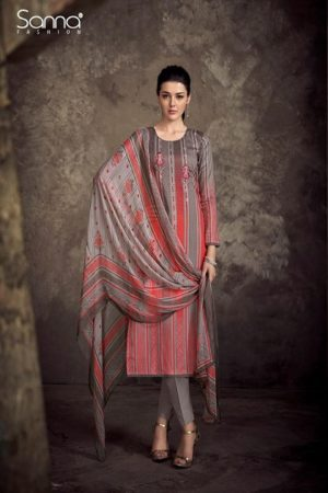 Sanna present Infinite Air Zet Satine Cotton Print With Designer Embroidery Suit 9440