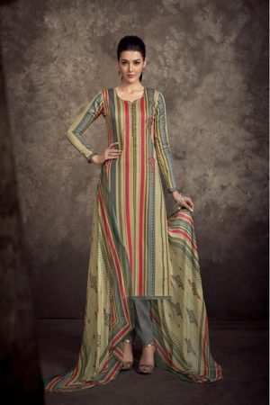 Sanna present Infinite Air Zet Satine Cotton Print With Designer Embroidery Suit 9442