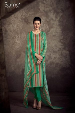 Sanna present Infinite Air Zet Satine Cotton Print With Designer Embroidery Suit 9443