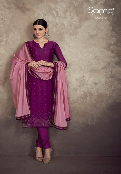 Sanna presents Khwaab Georgette Satin Swaroski Work Suit 9450