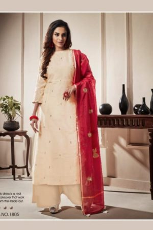 Shai Presents Raaga Pure Bemberg Slub With Hand Work Suit 1804