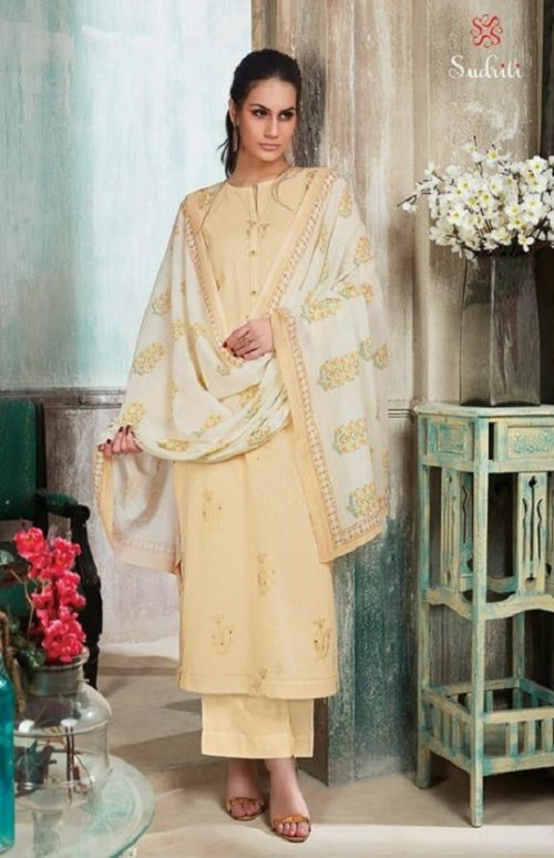 Sudriti Eden Garden Cotton Dobby Foil Print With Embroidery Suits 695