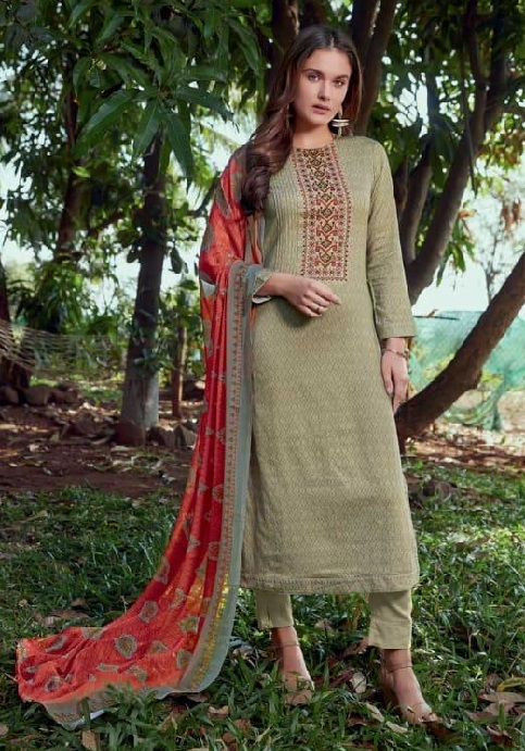 Sudriti The Roots Cotton Satin Printed With Embroidery Suit 834
