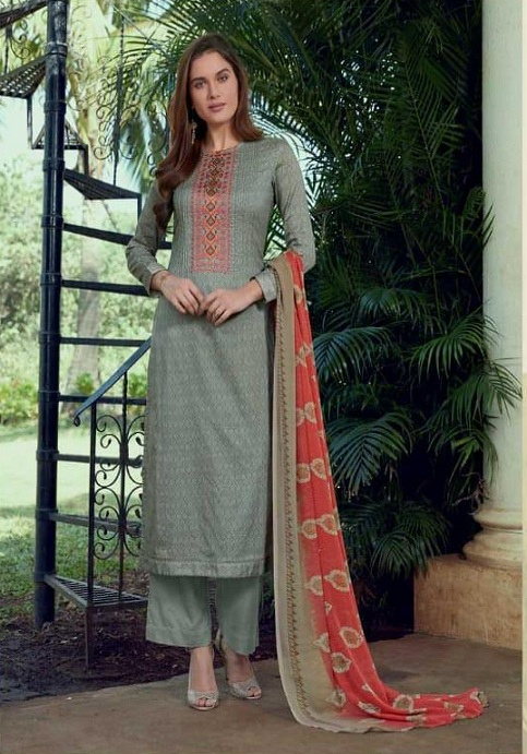 Sudriti The Roots Cotton Satin Printed With Embroidery Suits 827