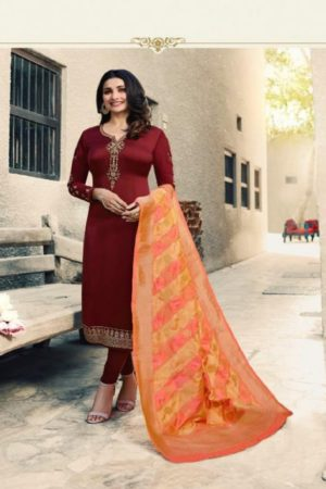 Vinay Fashions Present Banaras 3 Satin With Embroidery Suits 9873