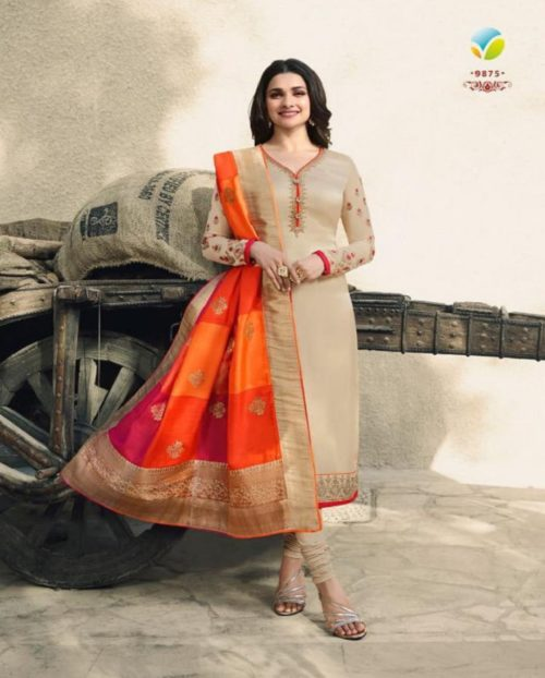 Vinay Fashions Present Banaras 3 Satin With Embroidery Suits 9875