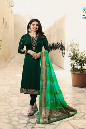 Vinay Fashions Present Banaras 3 Satin With Embroidery Suits 9877