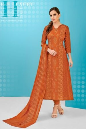 Volono Zara Vol 3 Glace Cotton Foil Print With Khatli Work Suit 3001