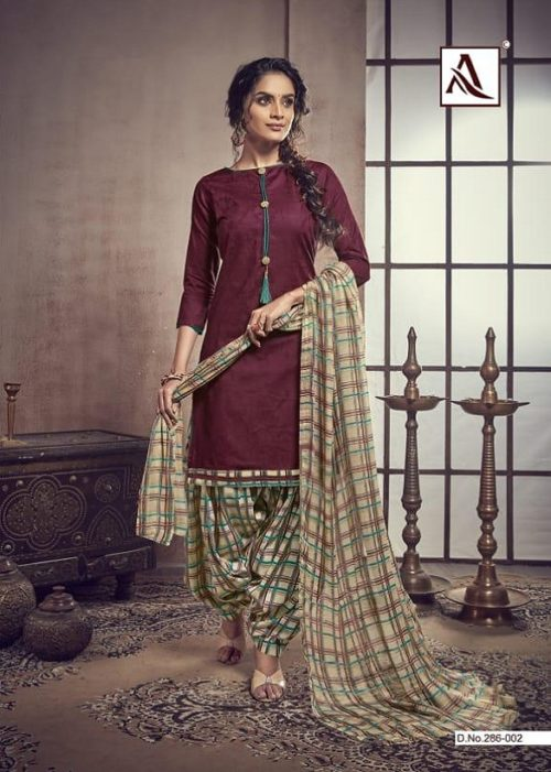 Alok Noor-e-Patiyala Pure Zaam Cotton Jacquard With Stylish Button And Print Suit 286-002