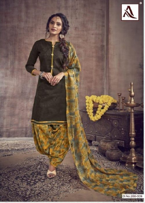 Alok Noor-e-Patiyala Pure Zaam Cotton Jacquard With Stylish Button And Print Suits 286-009