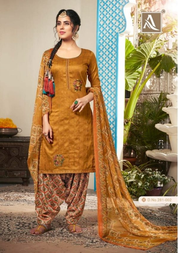 Alok Suits Heer Pure Jam Cotton Self Print With Exclusive Designer Embroidery Suit 281-002