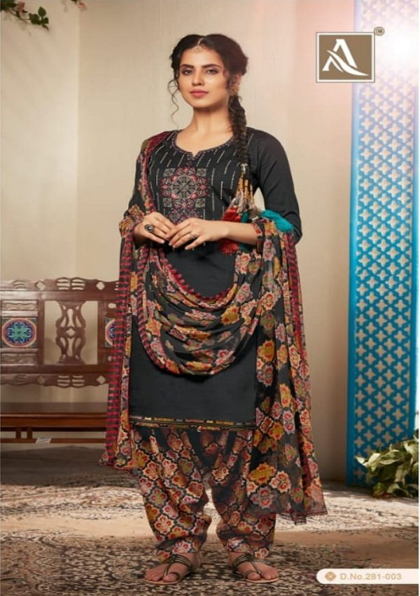 Alok Suits Heer Pure Jam Cotton Self Print With Exclusive Designer Embroidery Suit 281-003