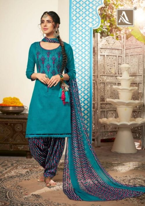 Alok Suits Heer Pure Jam Cotton Self Print With Exclusive Designer Embroidery Suit 281-008