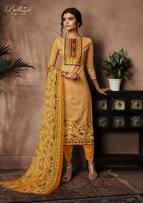 Buy Belliza Designer Studio Nazrana Pure Premium Cotton Digital Style Printed Suit 232-004