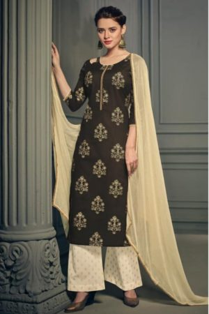Deepsy Presents Heritage Pure Cotton Gold Print With Embroidery And Handwork Suit 1001
