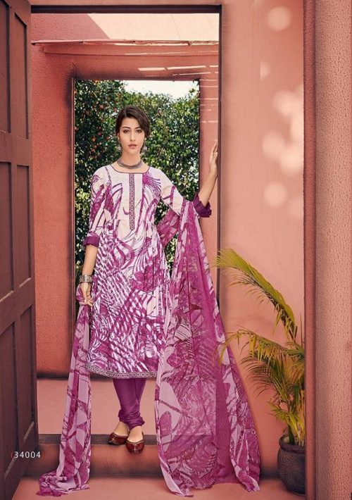 Deepsy Presents Lihaz Pure Cotton Print with Neck And Daman Work Suit 34004