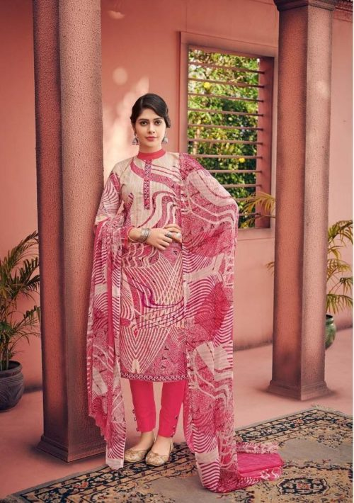 Deepsy Presents Lihaz Pure Cotton Print with Neck And Daman Work Suit 34006