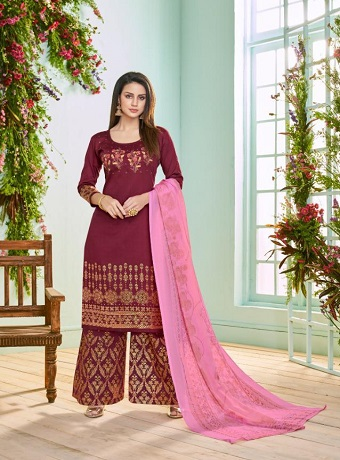 Deepsy Presents Roza Pure Jam Silk Cotton Foil Print Salwar Kameez 1001