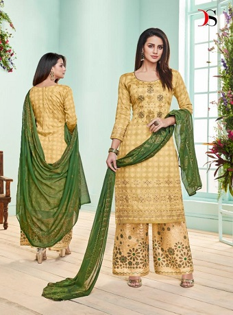 Deepsy Presents Roza Pure Jam Silk Cotton Foil Print Salwar Suits 1004