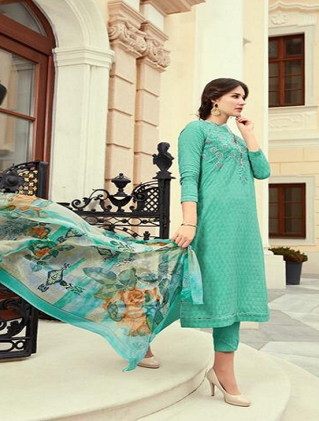 Esta Designs Presents Zareena Pure Cotton With Embroidery Salwar Suits 104