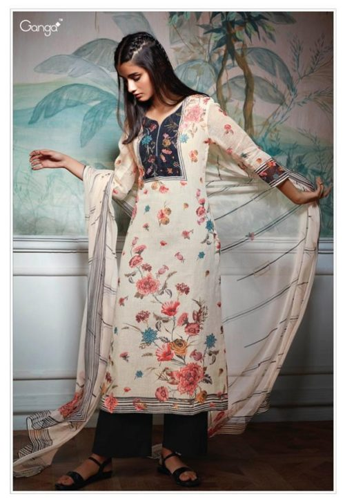 Ganga presents Hollis Pure Linen Printed With Hand Work & Linng Mal Mal Cotton Suit 7310