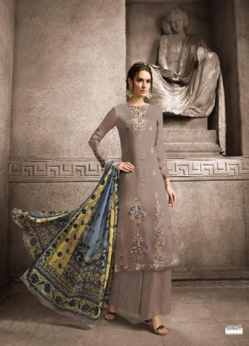 Hansa Husna Ara Vol 19 Satin Georgette Dyed With Embroidery Designer Suit 19007