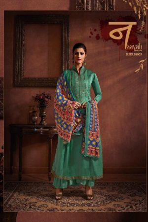 Hansa Presents Husna Ara 18 Satin Georgette Dyed With Embroidery Suit 18007
