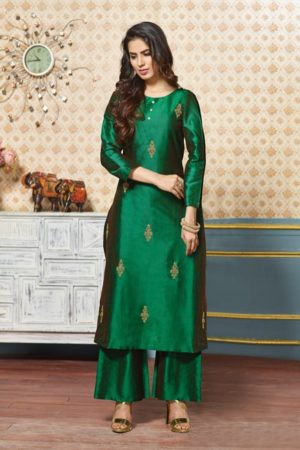 Karma Presents Tucute Pure Silk Kurtis With Palazzo Suit TC-379