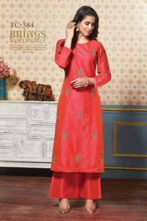 Karma Presents Tucute Pure Silk Kurtis With Palazzo Suit TC-384