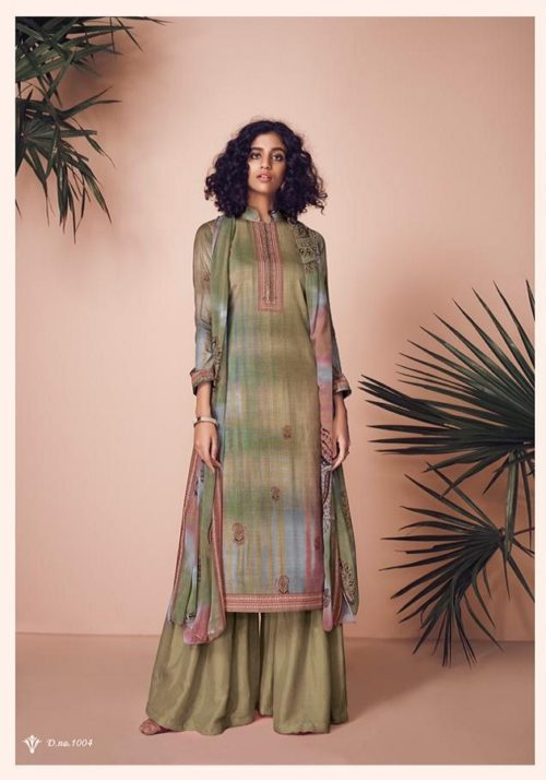 Kesar Presents Zara Jam Silk Digital Print With Swaroski Work Suit 1004