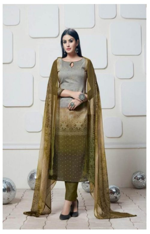 Levisha Presents Bandhani Collection Alvira Cotton Satin Bandhani Print Suit 2818
