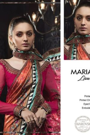 Maria B Lawn Replica Embroidered Lawn Suit with patches D-2