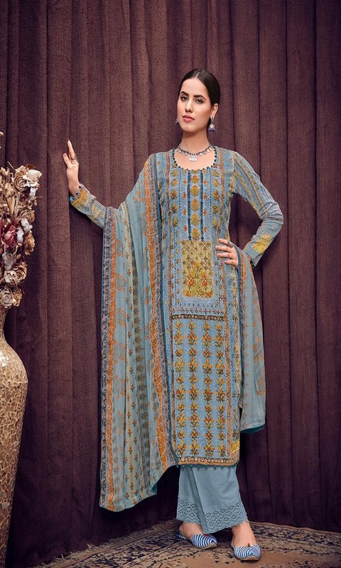 Mumtaz Arts Rangon Ki Duniya Bunaai Original Jam Satin Digital Print With Heavy Aari Work Suit 402