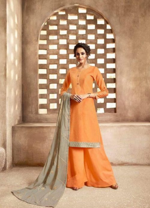 Omtex Maitreyi Pure Chanderi Foil Print With Handwork Salwar Suits 584