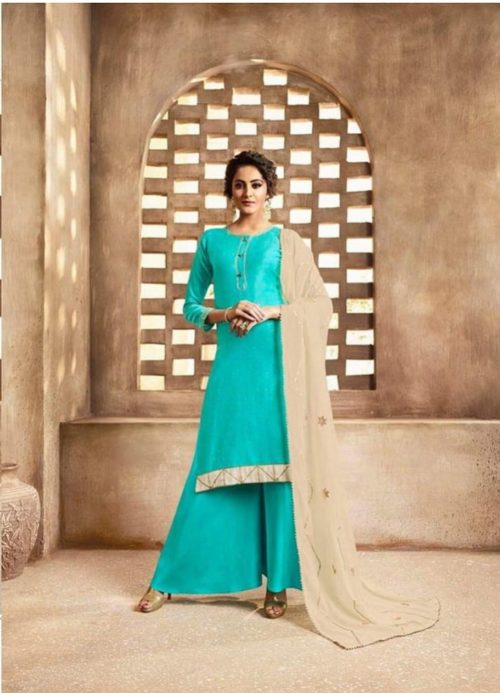 Omtex Maitreyi Pure Chanderi Foil Print With Handwork Salwar Suits 586