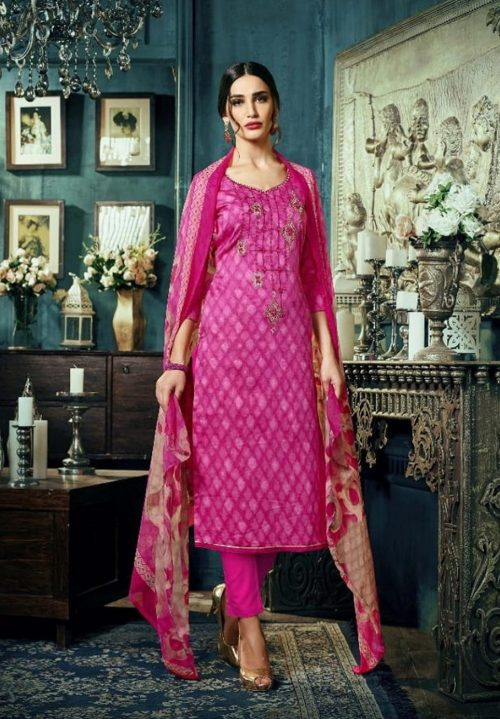 Sargam Presents Maria Jam Satin Designer Front Back Print With Work Suit 50002