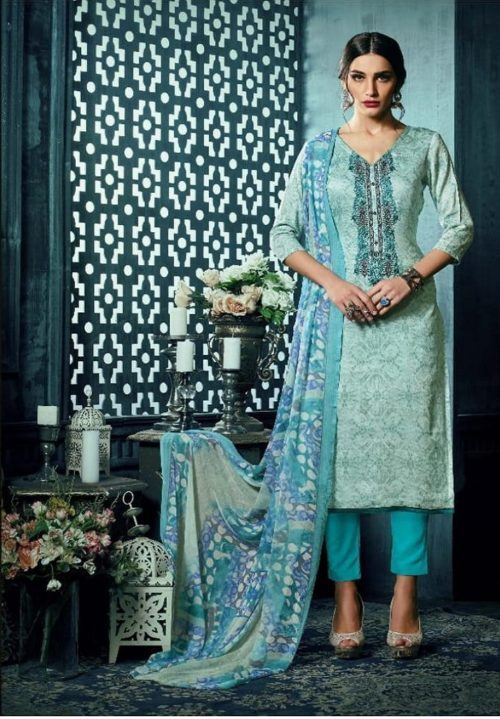 Sargam Presents Maria Jam Satin Designer Front Back Print With Work Suit 50006