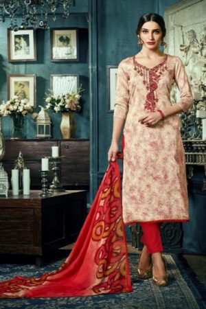 Sargam Presents Maria Jam Satin Designer Front Back Print With Work Suit 50009