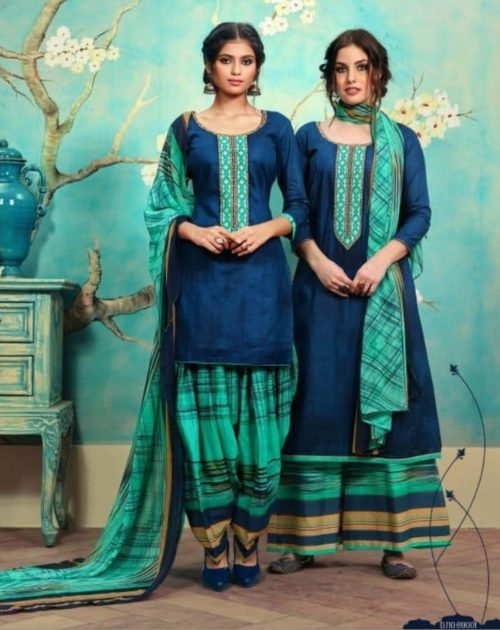 Sargam Presents Sumaira Cotton Satin Print With Designer Embroidery Suit 69001