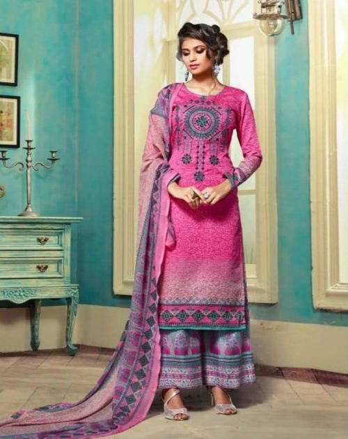 Sargam Presents Sumaira Cotton Satin Print With Designer Embroidery Suit 69004