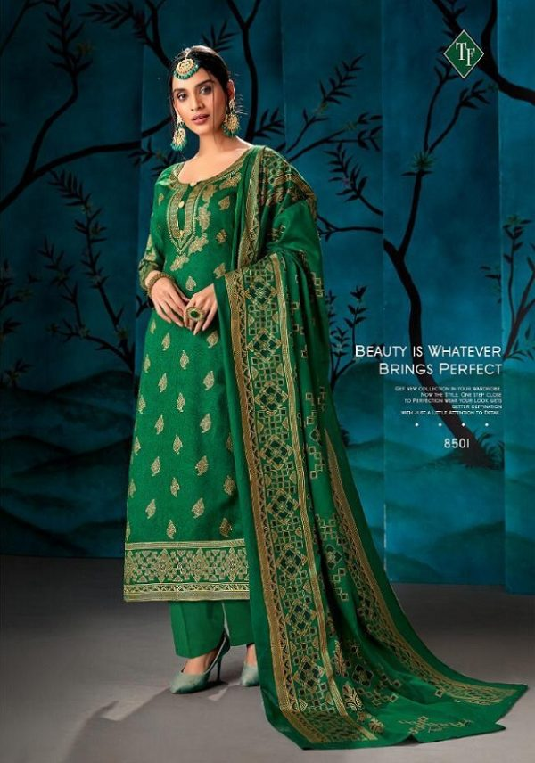 Tanishk Fashion Mirza Pure Cotton Satin Glace With Gold Foil Salwar Suits 8501