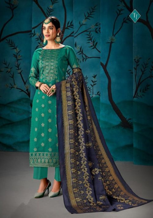 Tanishk Fashion Mirza Pure Cotton Satin Glace With Gold Foil Salwar Suits 8506