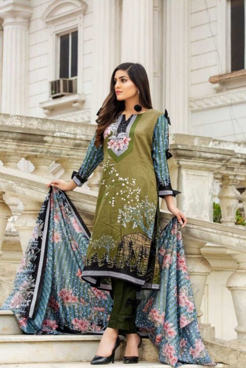 Three Star Presents Lawn Collection Vol 2 Beautiful Printed Lawn Collection Suit 06