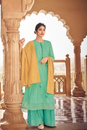 Varshaa Fashion Presents Siyahi Pure Chanderi Foil Print With Handwork Suit S-12