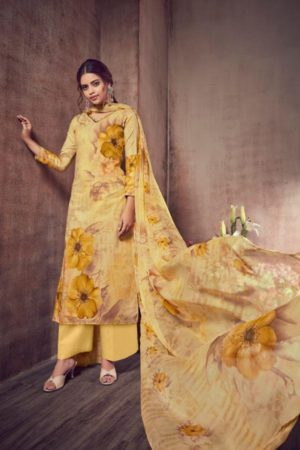 AT Presents Malvika Vol 13 Camric Cotton Printed With Hand Work Suit 1303 A
