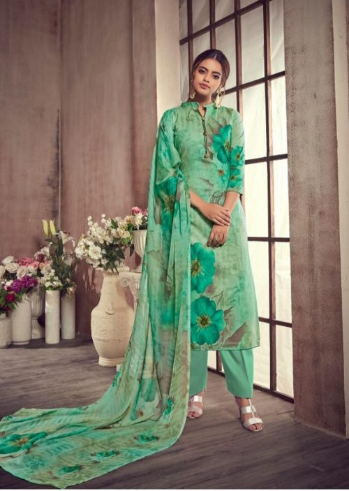 AT Presents Malvika Vol 13 Camric Cotton Printed With Hand Work SuitS 1303 B