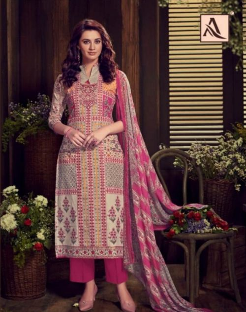 Alok Presents Kaara Pure Cambric Digital Style Designer Summer Print With Exclusive Placement Foil Suit 294-007