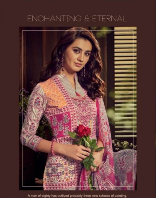 Alok Presents Kaara Pure Cambric Digital Style Designer Summer Print With Exclusive Placement Foil Suits 294-007