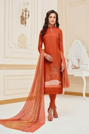 Angroop Plus Presents Dairy Milk Vol 27 Chanderi Cotton With Embroidery Work Salwaar Suits 3006